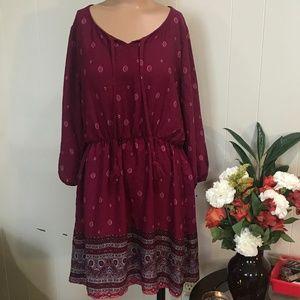 Burgundy Boho Style Long Sleeve Dress